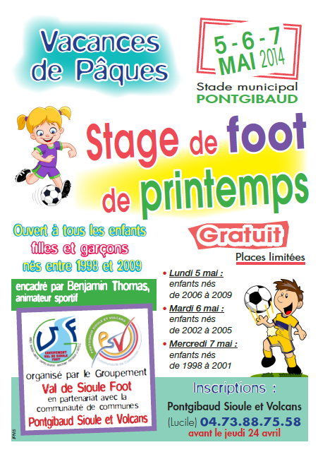 Affiche - Stage Foot - Avril 2014